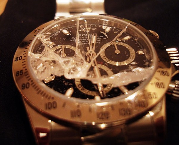 Sudaužytas Rolex laikrodis
