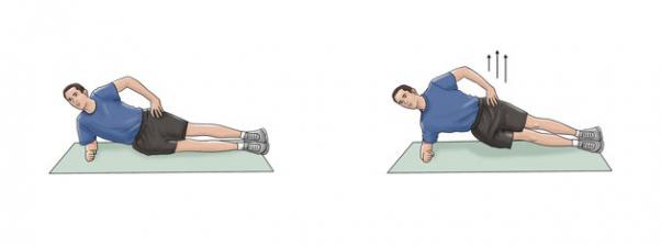 Pratimai nugaros apačiai: side plank